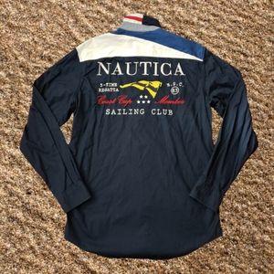 Nautica Sailing Club LS Button Up Shirt Small